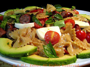 Pasta with Tomato, Avocado, Mozzarella and Sausages