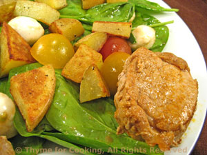 Spinach Salad with Pork, Potatoes and Mozzarella