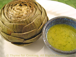 Artichokes with White Balsamic Dill Vinaigrette