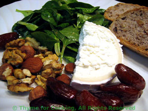 Spinach Salad with Chevre, Dates and Nuts