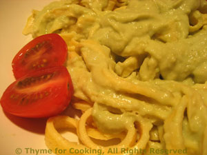 Egg Linguini with Avocado Sauce