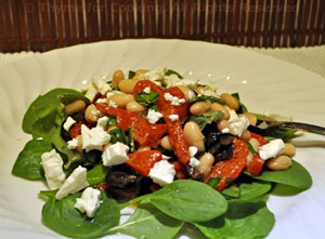 Spinach, Pimiento and Feta Salad