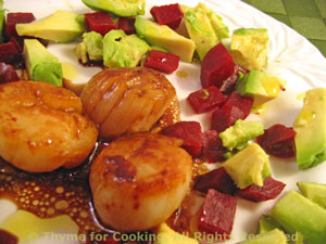 Scallops with Avocado and Beetroot