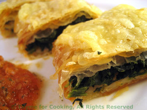 Spinach Strudel with Carrot Tomato Sauce